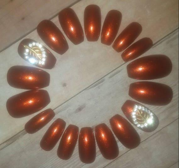 Burnt Orange Leaf Coffin Nails Fake Nails Fall Nails False