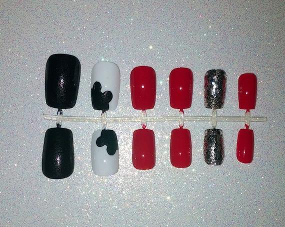 Mickey Mouse Fake Nail Set Press on Nails Glue on Nails | Etsy
