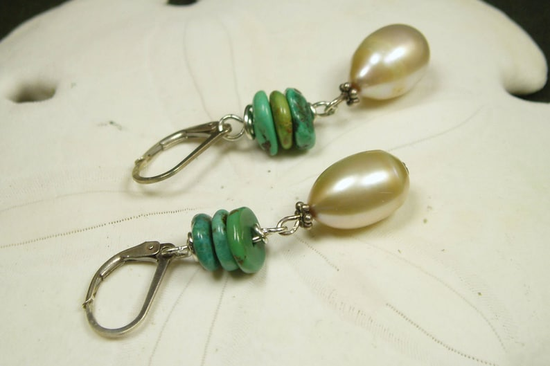 Light Gold Pearl Turquoise Earrings Large Freshwater Teardrop Pearl Genuine Turquoise Sterling Silver Earrings