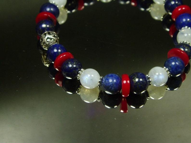 Fourth Of July Bracelet Genuine Rainbow Moonstone Red Coral Lapis Lazuli Bracelet  Boho Statement Bracelet Vintage Sterling Jewelry
