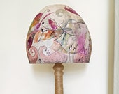 Artistic Paper Mache, Hand made and hand painted Lamp Shade, Pink and Purple Home Decor Lighting, New Home Gift
