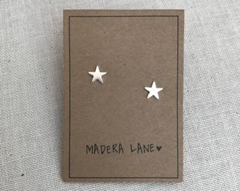 Tiny Star Stud Earrings in Silver with Sterling Silver Posts.  Boho Post Earrings.  Small Minimalist Earrings. Celestial Stud Earring Set