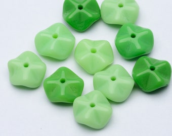 100pcs Findings Lucite Beads 7mm Vintage German Beads Tiny Green Beads Vintage Rondella Beads