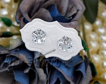 CRYSTAL sterling silver and Swarovski earrings, studs, post,  handmade