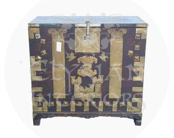 Late 19th Century Dark Wood Asian Antique Cabinet Blanket Chest With Brass  Fitting Hardware For Your Hom
