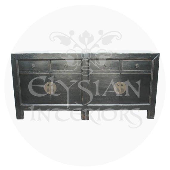 19th Century Chinese Antique Black painted Asian sideboard cabinet Qing  Dynasty