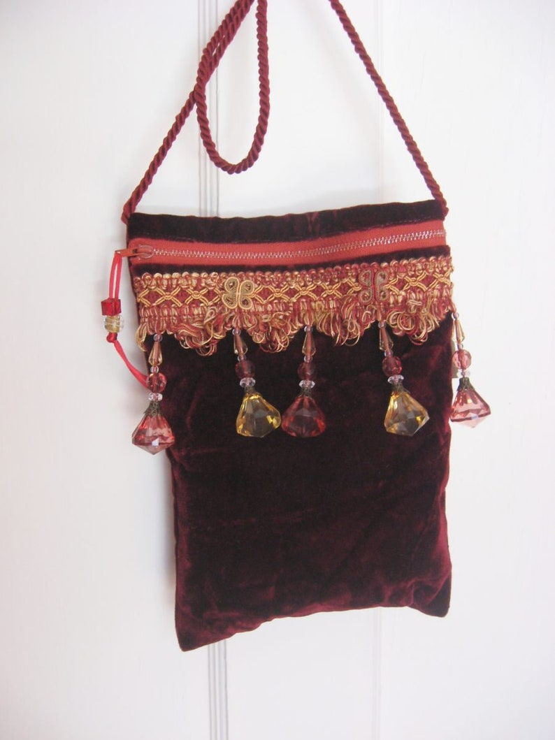 17e9cecbc60 Garnet Cross Body Bag, Dark Red Velvet Purse, Small Fancy Bag with Fringe  and Beads, Free Shipping