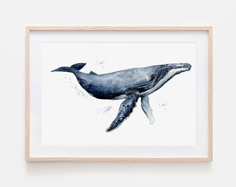 Postcard BLUE WHALE Mixed Media Watercolor Painting Illustration Pencil Drawing Mini Poster
