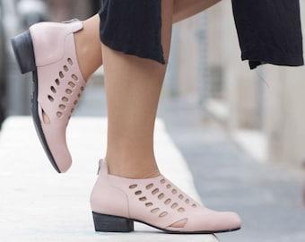 Sandales en cuir, en cuir à talons chaussures, chaussures à la main, bottes d'été, chaussures été, chaussures roses, printemps, livraison gratuite
