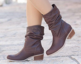 Leather Slouch Boots, Leather Shoes, Leather Booties, Winter Shoes, Brown Leather Boots, Ankle Boots, Free Shipping