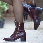 Women Leather Ankle Boots, Leather Booties , High Heel Boots, Winter Shoes, Free Shipping