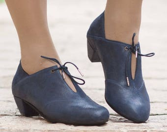 Leather Pumps, Leather Heeled Shoes, Handmade Shoes, Mary Jane, Winter Shoes, Blue Shoes , Free Shipping