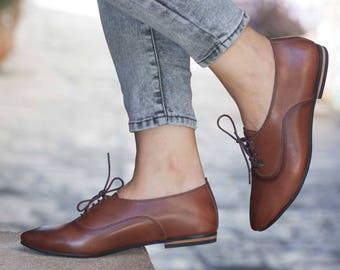 Women Leather Shoes, Leather Oxfords, Oxford Shoes, Painted Leather Shoes, Closed Shoes, Brown Shoes, Handmade, Free Shipping