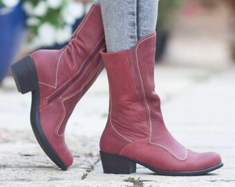Bordeaux Leather Boots, Leather Riding Boots, Leather Booties, Leather Women Shoes, Winter Shoes, Handmade Shoes , Free Shipping
