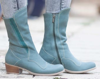 Blue Leather Boots, Leather Riding Boots, Leather Booties, Leather Women Shoes, Winter Shoes, Handmade Shoes , Free Shipping