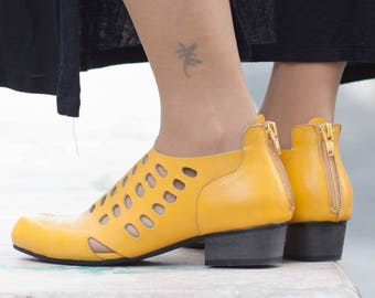 Leather Sandals, Leather Heeled Shoes, Handmade Shoes, Summer Boots, Summer Shoes, Yellow Shoes , Spring, Free Shipping