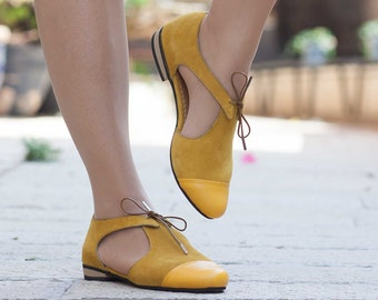 51059a18a06483 Yellow Leather Sandals