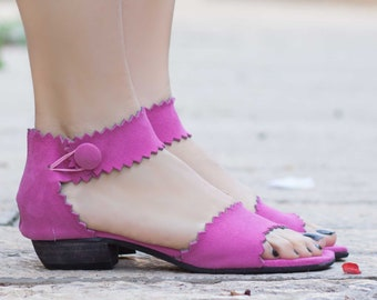 Women Leather Sandals, Heeled Sandals, Pink Leather Sandals, Fucsia, Summer Shoes, Heels,
