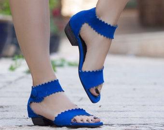 Femmes sandales en cuir, à talons chaussures sandales, sandales en cuir bleu, l'été, des talons,