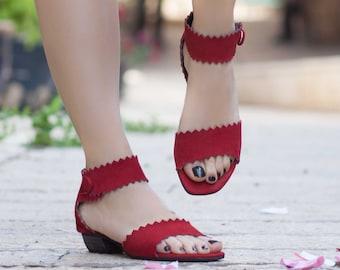 Femmes sandales en cuir, à talons sandales, sandales en cuir rouge, chaussures d'été, talons,