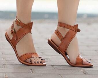 c45ec0ff3d843 Leather Sandals Flat Sandals Greek Sandals Women Sandals