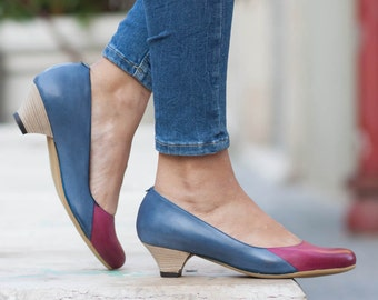 Women Leather Pumps, Leather Heels, Painted Leather Shoes, Heeled Shoes, Blue Leather Shoes, Free Shipping