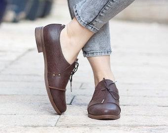 a6974b4bd9 Women Leather Shoes, Leather Oxfords, Oxford Shoes, Winter Shoes, Flat Shoes,  Free Shipping
