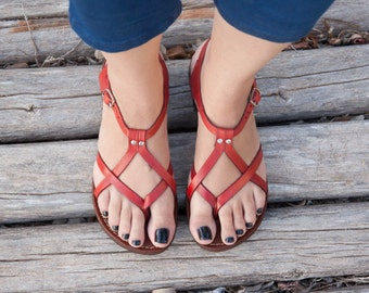 Red Leather Sandals, Red Sandals, Summer Shoes, Flat Sandals, Straps Sandals , Free Shipping