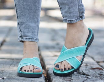 Turquoise Sandals, Summer Shoes, Green Flats, Comfort Shoes, Free Shipping, Flip-Flops