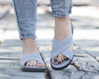 Gray Sandals, Summer Shoes, Gray Flats, Comfort Shoes, Free Shipping, Flip-Flops
