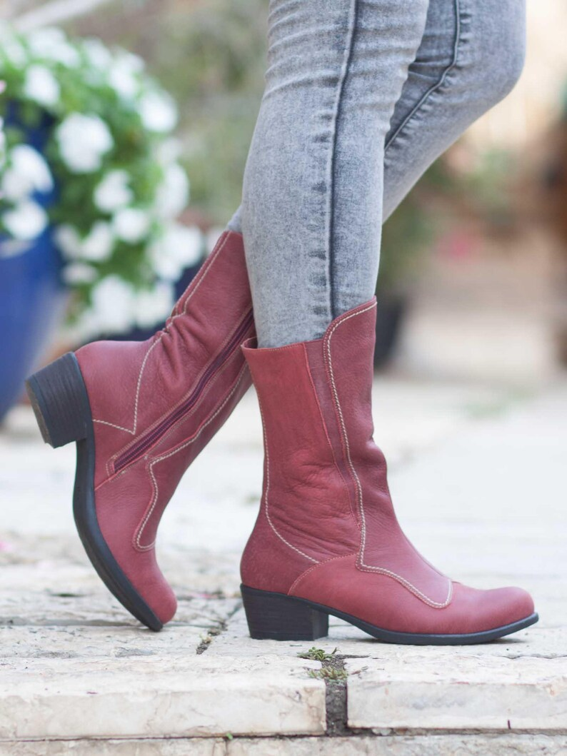 8322c38eb9895 Bordeaux Leather Boots, Leather Riding Boots, Leather Booties, Leather  Women Shoes, Winter Shoes, Handmade Shoes , Free Shipping