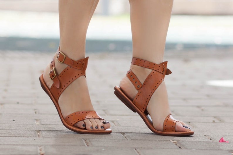 fbeca5474d77bd Leather Sandals Flat Sandals Greek Sandals Women Sandals
