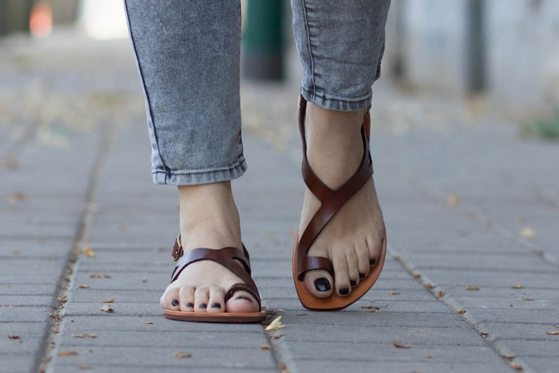 Brown Leather SandalsAsymmetric Sandals Summer Shoes Brown image 0