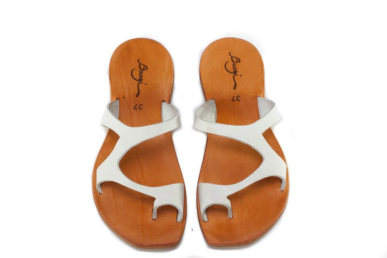 33548be98ed67 White Leather Sandals,Asymmetric Sandals, Summer Shoes, White Sandals, Flat  Sandals , Free Shipping