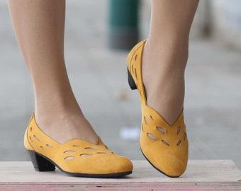 Escarpins en cuir, en cuir à talons, chaussures à la main, Mary Jane, chaussures d'été, jaune chaussures, livraison gratuits