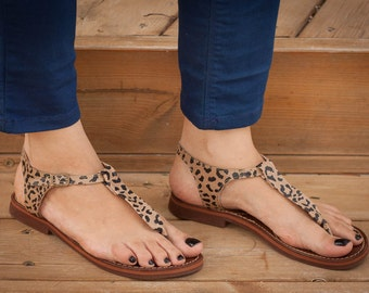Printed Leather Sandals, Animal Print Sandals, Summer Shoes, Flat Sandals , Free Shipping