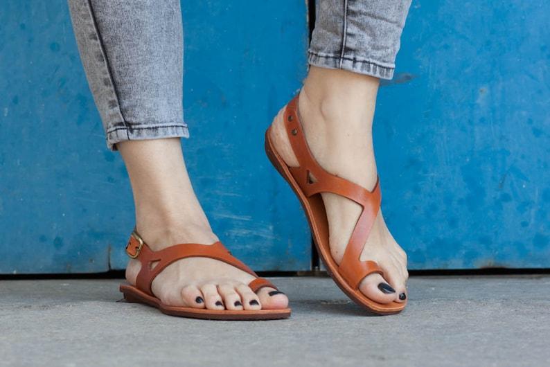 Camel Leather SandalsAsymmetric Sandals Summer Shoes Camel image 0