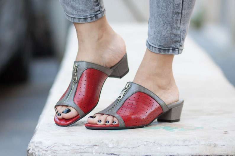 051da0cd51c92 Leather Sandals, Women Summer Shoes, Leather Clogs, Mules, Leather  Flip-Flops, Women Sandals, Heeled Sandals, Red, Free Shipping