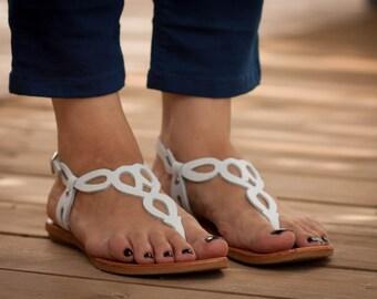 Sandales en cuir blanc, blancs sandales, sandales plates, chaussures d'été, livraison gratuite