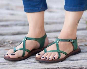 Sandales en cuir vert, verts sandales, chaussures, sandales plates, d'été livraison gratuite