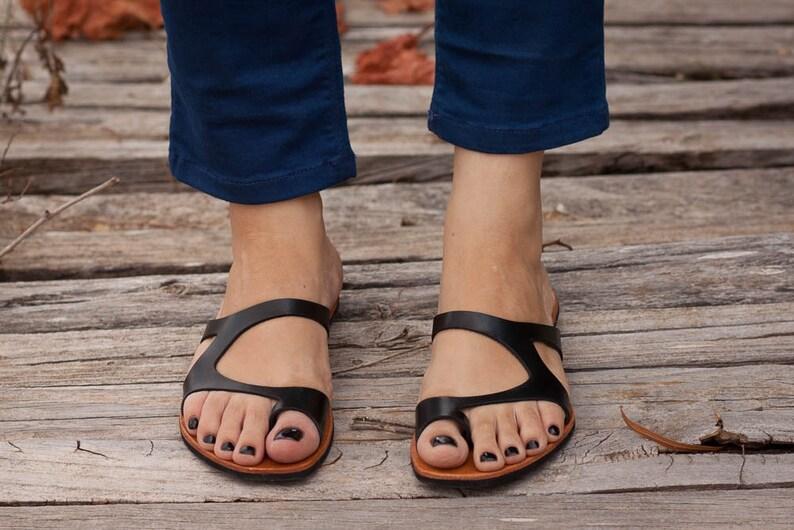Black Leather Sandals Black Sandals Summer Shoes Asymmetric image 0