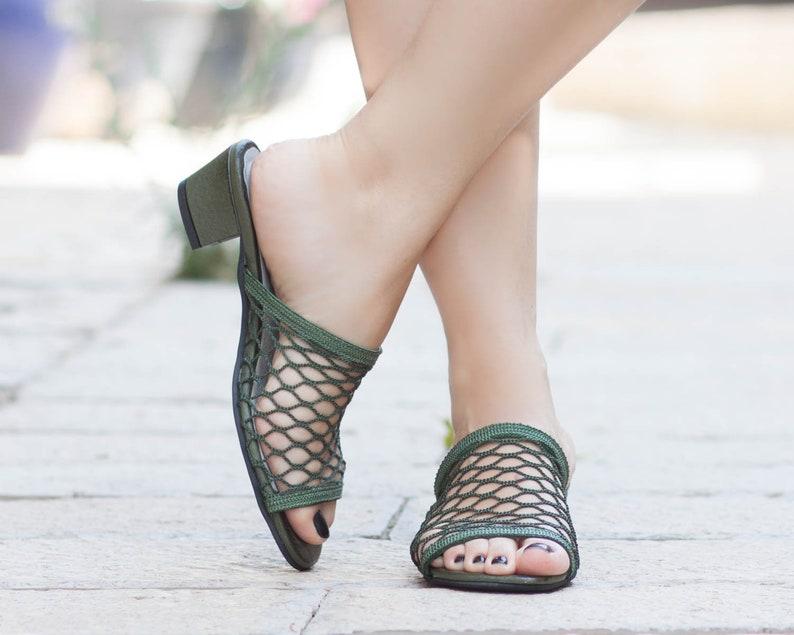 b893ebecb6251 Women Net Sandals, Women Summer Shoes, Net Clogs, Mules, Flip-Flops, Women  Sandals, Heeled Sandals, White, Free Shipping