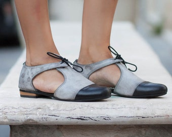 New! Leather Sandals, Leather flats, Leather Shoes, Oxfords, Summer Shoes, Women Shoes, Flats, Gray Sandals , Free Shipping