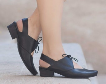 Femmes sandales en cuir, à talons sandales, sandales en cuir noir, chaussures d'été, talons,
