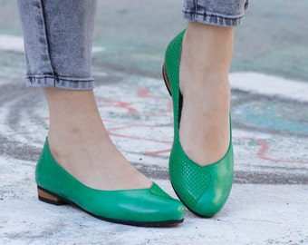 Leather Shoes, Green Shoes, Flat Shoes, Leather Ballerina Shoes, Leather Flats, Ballerinas, Slip-ons, Lulu , Free Shipping