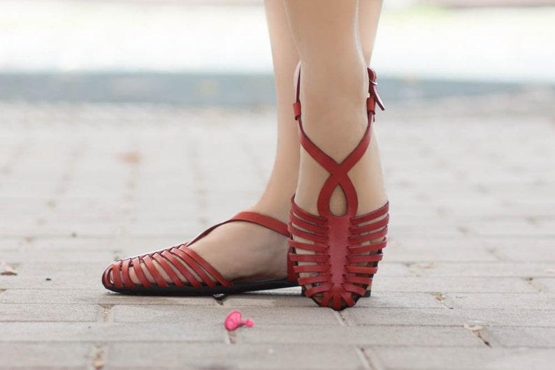Vintage Sandals | Wedges, Espadrilles – 30s, 40s, 50s, 60s, 70s Woven Leather SandalsWomen's Sandals Summer Shoes Leather Flats Leather Shoes Flat Sandals  Handmade Free Shipping $98.44 AT vintagedancer.com