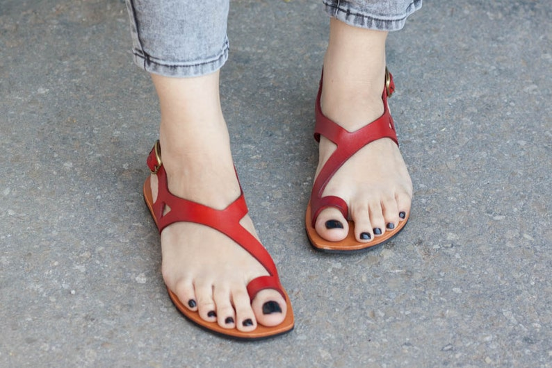 Red Leather SandalsAsymmetric Sandals Summer Shoes Red image 0