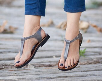 Grey Leather Sandals, Grey Sandals, Summer Shoes, Flat Sandal, Straps Sandals , Free Shipping