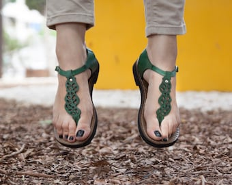 Green Leather Sandals, Green Sandals, Boho Chic Sandals, Summer Shoes , Free Shipping
