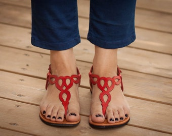 Sandales en cuir rouge, rouges sandales, sandales plates, chaussures d'été, livraison gratuite